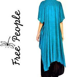 NEW FREE PEOPLE Teal Blue Open Gauze Maxi Kimono